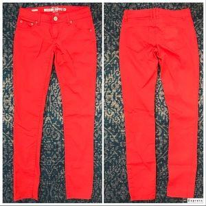 Mossimo Neon Skinny Jeans, Red Orange